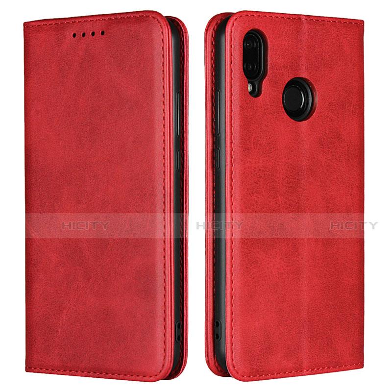Huawei Nova 3e用手帳型 レザーケース スタンド カバー L06 ファーウェイ レッド