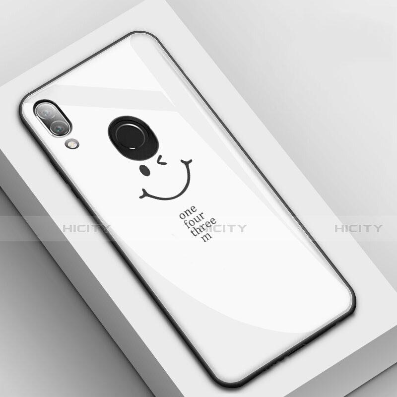 Huawei Nova 3e用ハイブリットバンパーケース プラスチック パターン 鏡面 カバー S04 ファーウェイ ホワイト