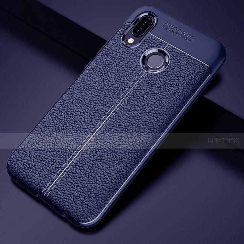 Huawei Nova 3e用シリコンケース ソフトタッチラバー レザー柄 S02 ファーウェイ ネイビー