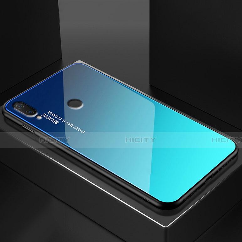 Huawei Nova 3e用ハイブリットバンパーケース プラスチック 鏡面 虹 グラデーション 勾配色 カバー ファーウェイ ブルー