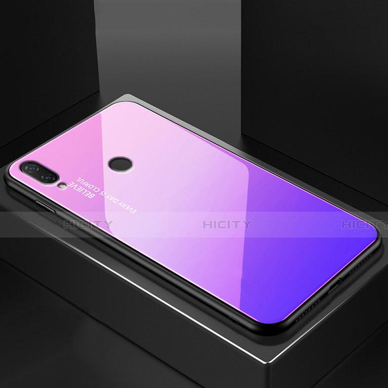 Huawei Nova 3e用ハイブリットバンパーケース プラスチック 鏡面 虹 グラデーション 勾配色 カバー ファーウェイ パープル