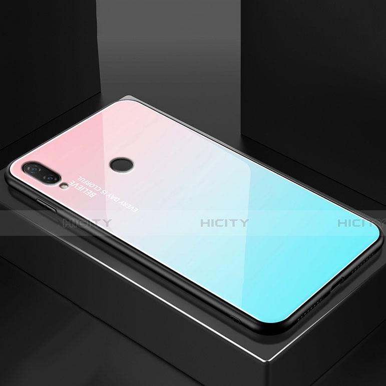 Huawei Nova 3e用ハイブリットバンパーケース プラスチック 鏡面 虹 グラデーション 勾配色 カバー ファーウェイ シアン