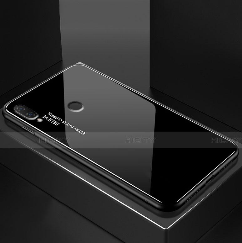 Huawei Nova 3e用ハイブリットバンパーケース プラスチック 鏡面 虹 グラデーション 勾配色 カバー ファーウェイ ブラック
