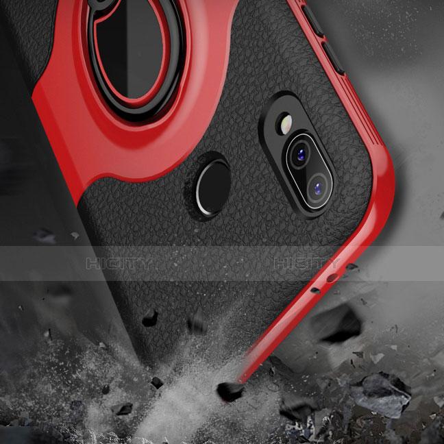 Huawei Nova 3e用シリコンケース ソフトタッチラバー レザー柄 アンド指輪 マグネット式 ファーウェイ