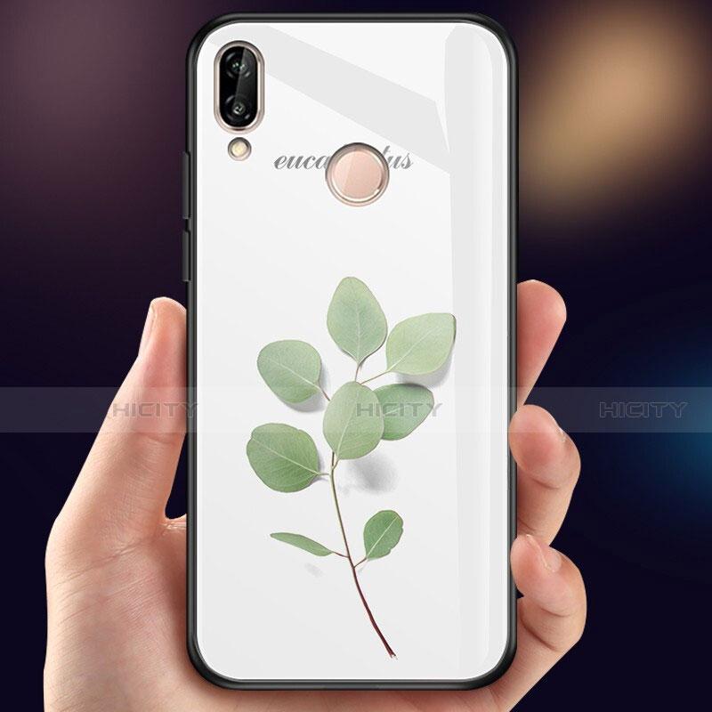 Huawei Nova 3e用ハイブリットバンパーケース プラスチック 鏡面 花 カバー ファーウェイ
