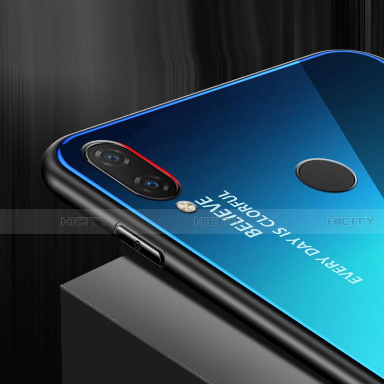 Huawei Nova 3e用ハイブリットバンパーケース プラスチック 鏡面 虹 グラデーション 勾配色 カバー ファーウェイ