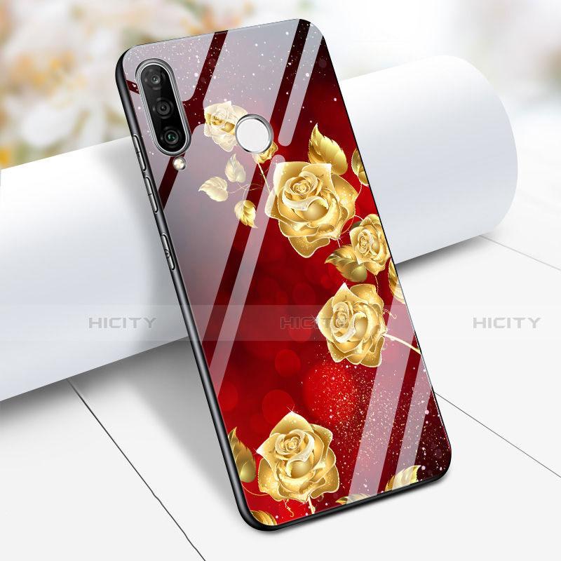 Huawei Nova 4e用ハイブリットバンパーケース プラスチック 鏡面 花 ファーウェイ レッド