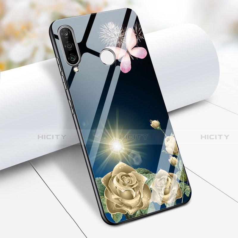 Huawei Nova 4e用ハイブリットバンパーケース プラスチック 鏡面 花 ファーウェイ ネイビー