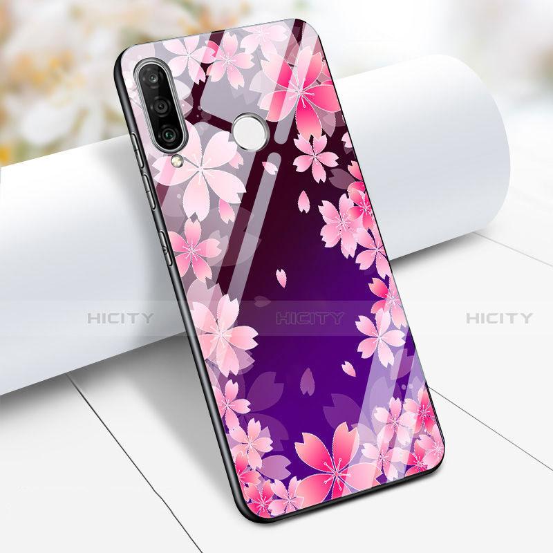 Huawei Nova 4e用ハイブリットバンパーケース プラスチック 鏡面 花 S01 ファーウェイ パープル