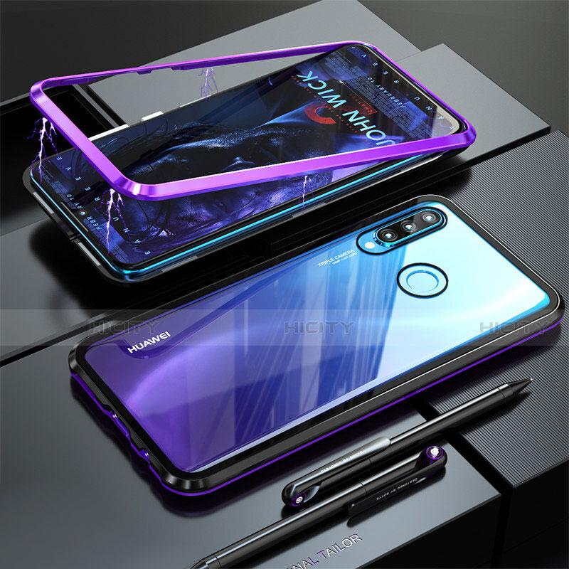 Huawei Nova 4e用ケース 高級感 手触り良い アルミメタル 製の金属製 バンパー 鏡面 カバー ファーウェイ パープル