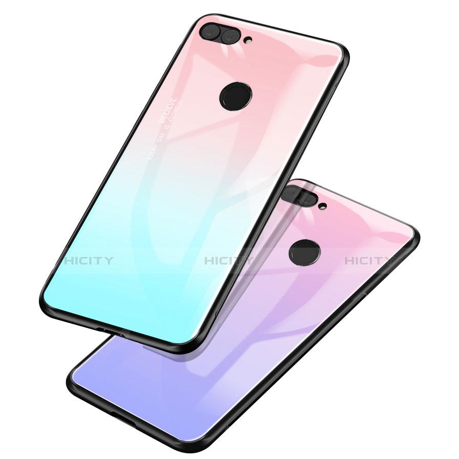 Huawei P Smart用ハイブリットバンパーケース プラスチック 鏡面 虹 グラデーション 勾配色 カバー ファーウェイ
