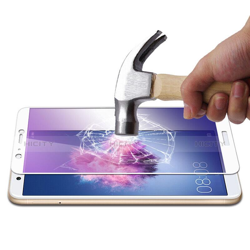 Huawei P Smart用強化ガラス フル液晶保護フィルム F02 ファーウェイ ホワイト