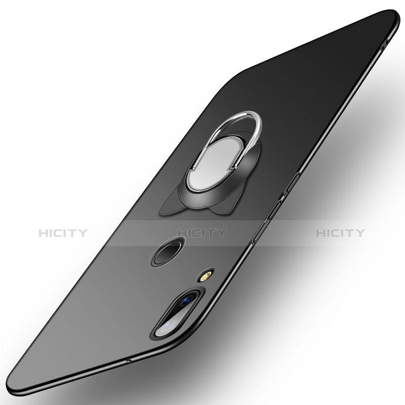 Huawei P20 Lite用ハードケース プラスチック 質感もマット アンド指輪 ファーウェイ ブラック