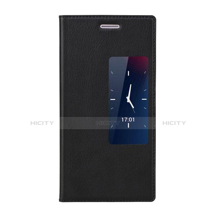 Huawei P7 Dual SIM用手帳型 レザーケース スタンド ファーウェイ ブラック