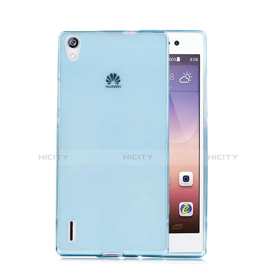 Huawei P7 Dual SIM用極薄ソフトケース シリコンケース 耐衝撃 全面保護 クリア透明 ファーウェイ ネイビー
