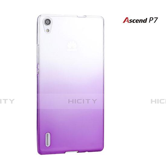 Huawei P7 Dual SIM用ハードケース グラデーション 勾配色 クリア透明 ファーウェイ パープル