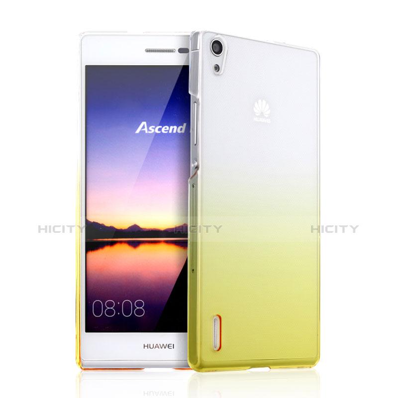 Huawei P7 Dual SIM用ハードケース グラデーション 勾配色 クリア透明 ファーウェイ イエロー
