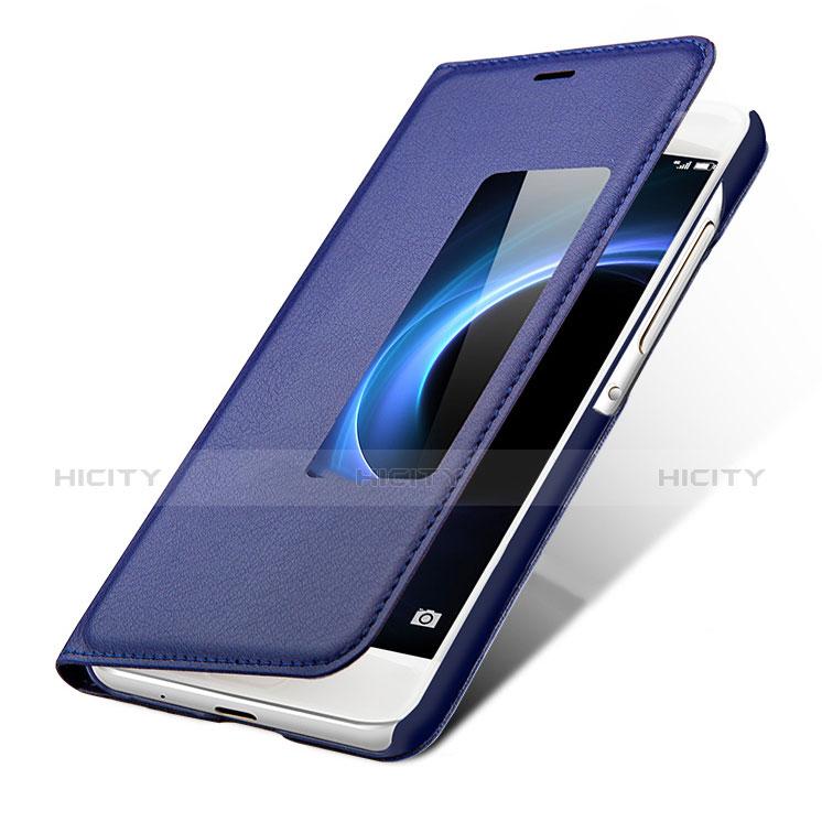 Huawei P7 Dual SIM用手帳型 レザーケース スタンド L01 ファーウェイ ネイビー