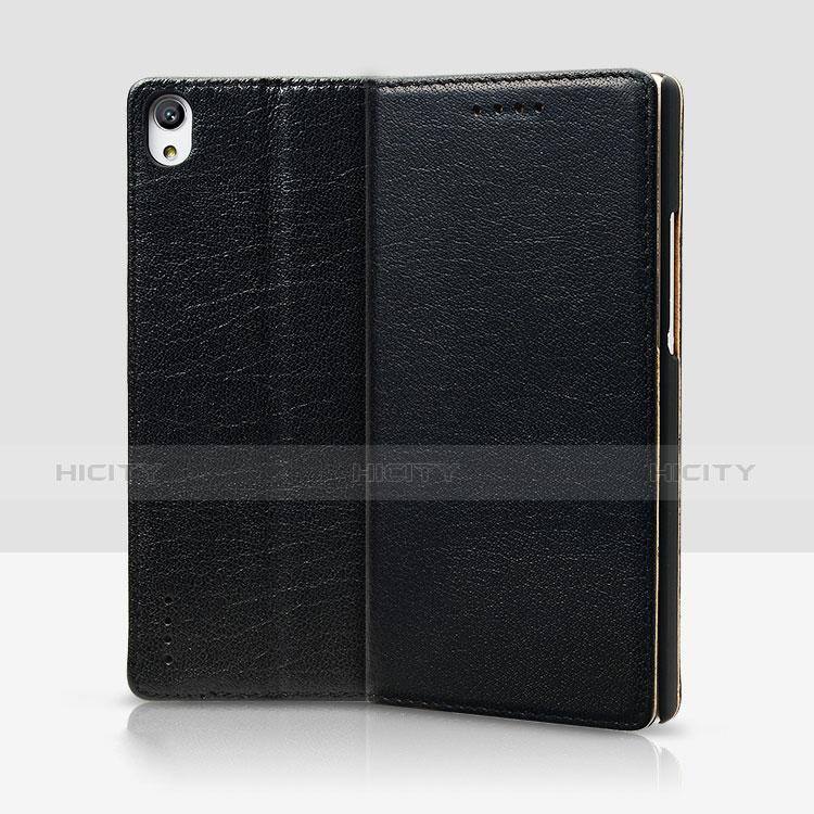 Huawei P7 Dual SIM用手帳型 レザーケース スタンド L02 ファーウェイ ブラック