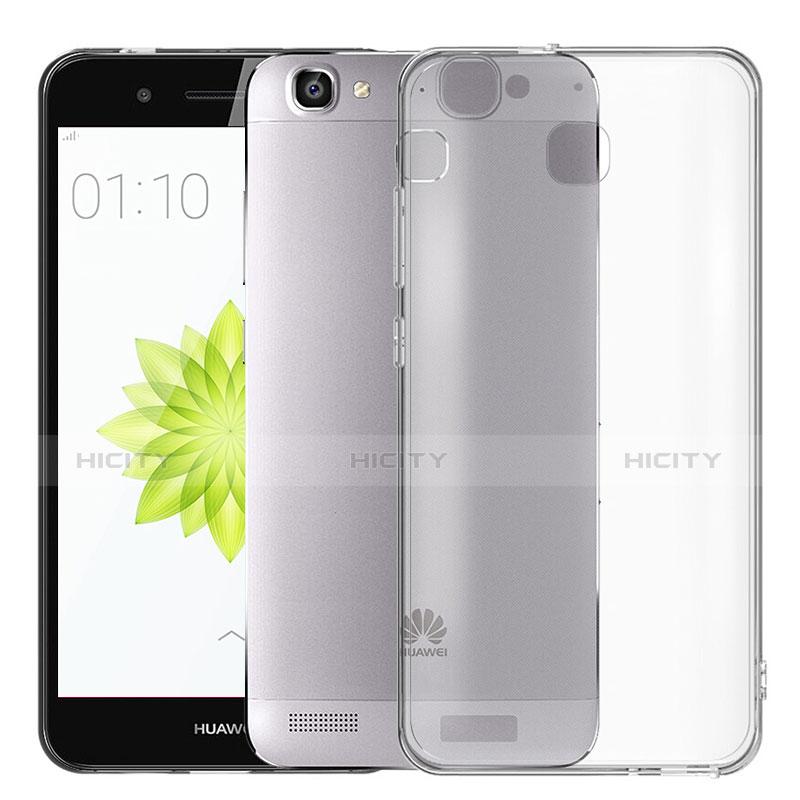 Huawei P8 Lite Smart用極薄ソフトケース シリコンケース 耐衝撃 全面保護 クリア透明 T02 ファーウェイ グレー