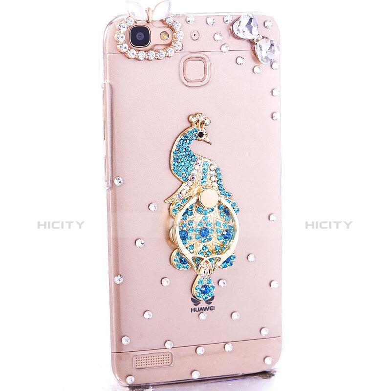 Huawei P8 Lite Smart用ケース ダイヤモンドスワロフスキー 孔雀 ファーウェイ ブルー