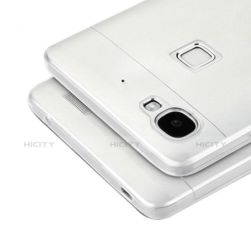 Huawei P8 Lite Smart用極薄ソフトケース シリコンケース 耐衝撃 全面保護 クリア透明 T04 ファーウェイ グレー