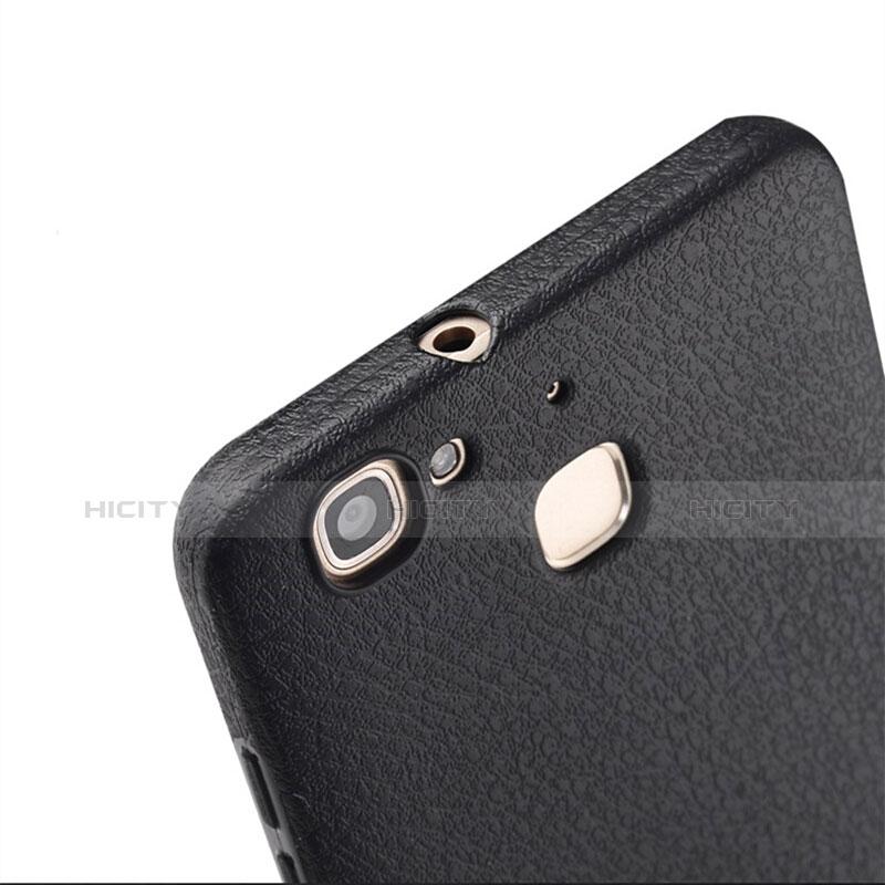 Huawei P8 Lite Smart用ハードケース プラスチック レザー柄 ファーウェイ ブラック
