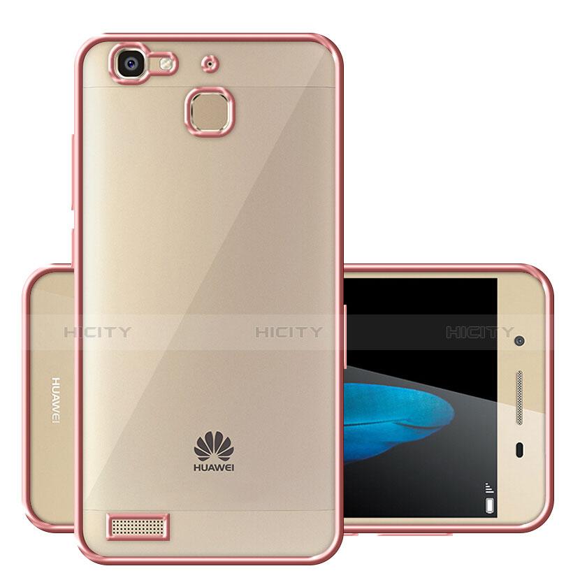 Huawei P8 Lite Smart用ハイブリットバンパーケース クリア透明 プラスチック ファーウェイ ローズゴールド