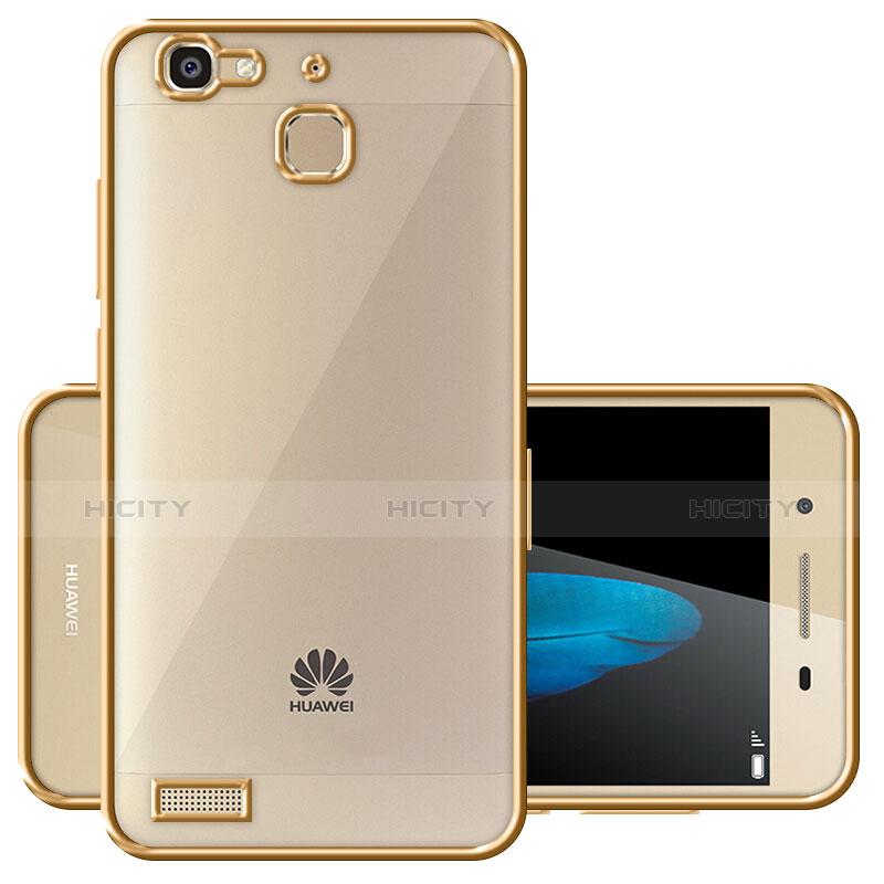 Huawei P8 Lite Smart用ハイブリットバンパーケース クリア透明 プラスチック ファーウェイ ゴールド