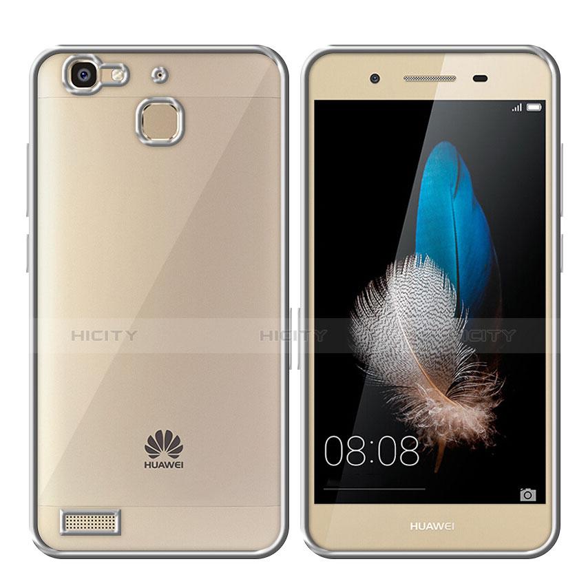 Huawei P8 Lite Smart用ハイブリットバンパーケース クリア透明 プラスチック ファーウェイ シルバー