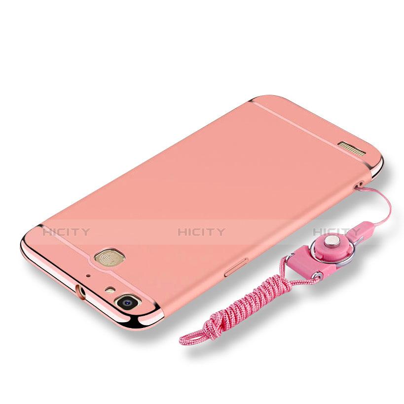 Huawei P8 Lite Smart用ケース 高級感 手触り良い メタル兼プラスチック バンパー 亦 ひも ファーウェイ ローズゴールド