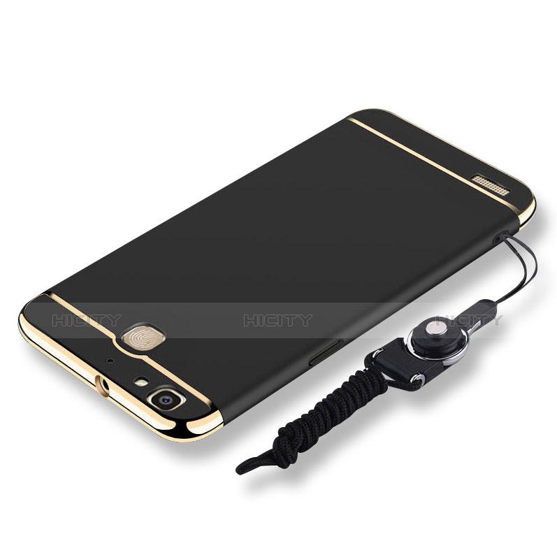 Huawei P8 Lite Smart用ケース 高級感 手触り良い メタル兼プラスチック バンパー 亦 ひも ファーウェイ ブラック
