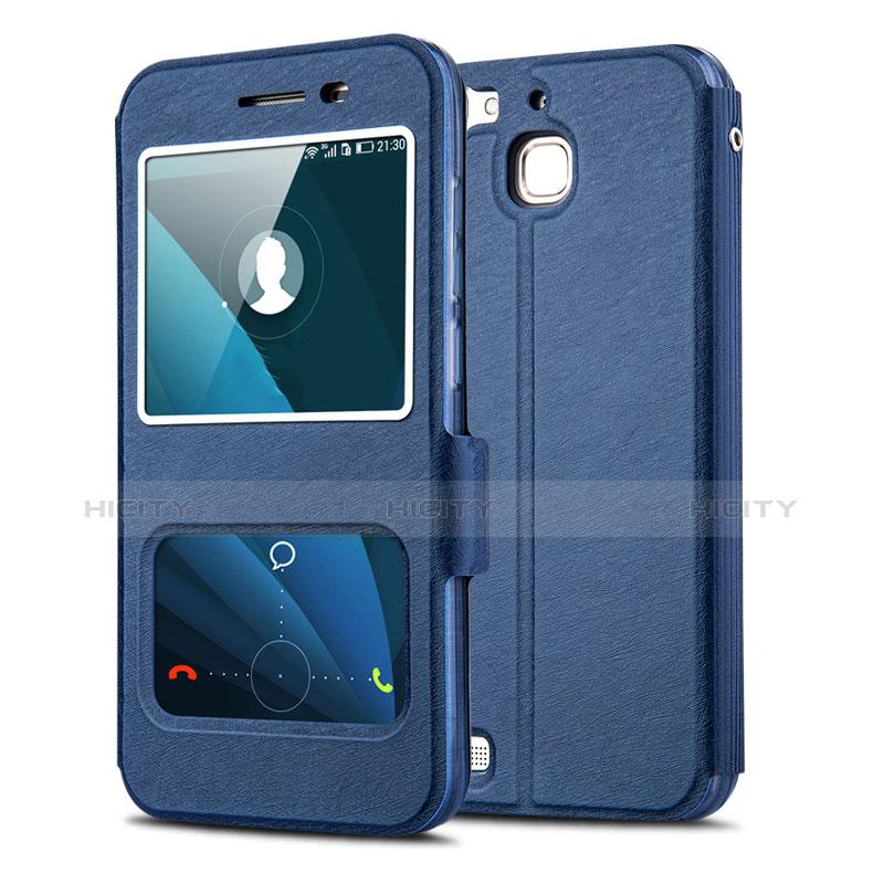 Huawei P8 Lite Smart用手帳型 レザーケース スタンド L01 ファーウェイ ネイビー