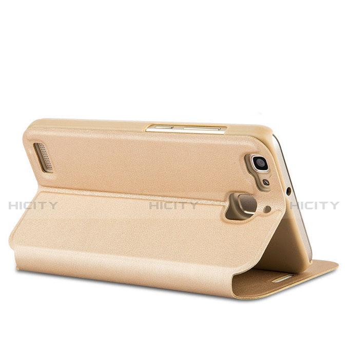 Huawei P8 Lite Smart用手帳型 レザーケース スタンド L01 ファーウェイ ゴールド