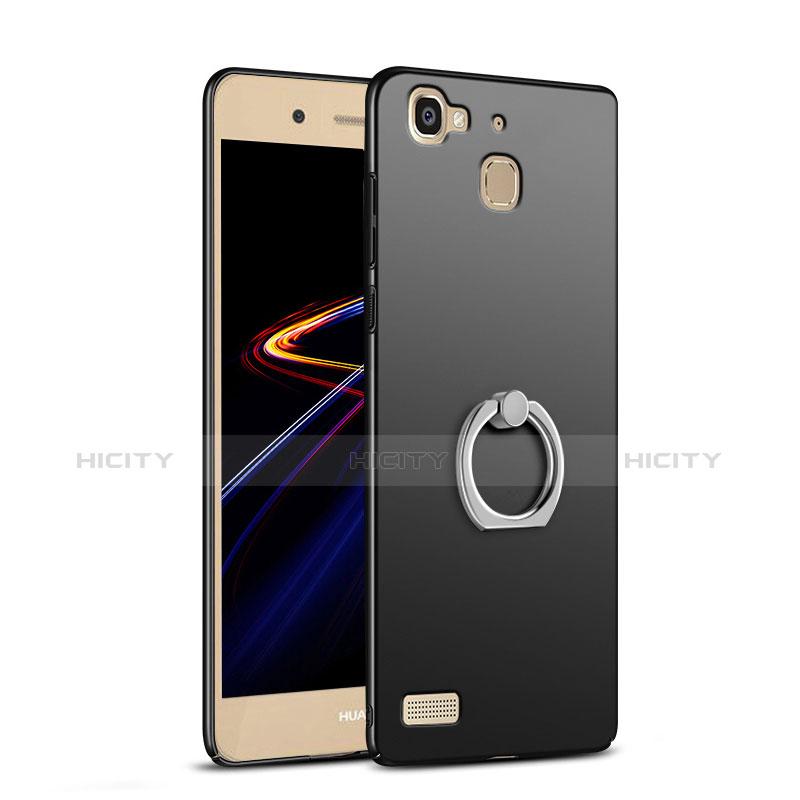 Huawei P8 Lite Smart用ハードケース プラスチック 質感もマット アンド指輪 A03 ファーウェイ ブラック