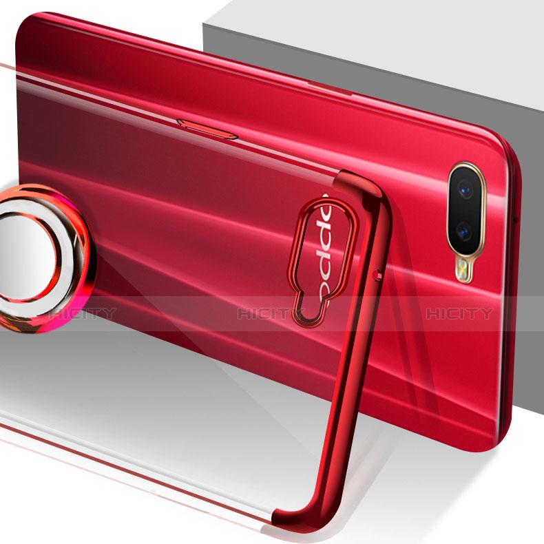 Oppo R17 Neo用極薄ソフトケース シリコンケース 耐衝撃 全面保護 クリア透明 アンド指輪 マグネット式 S01 Oppo