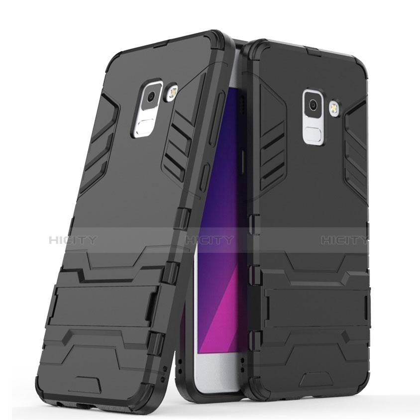 Samsung Galaxy A5 (2018) A530F用ハイブリットバンパーケース スタンド プラスチック 兼シリコーン サムスン ブラック