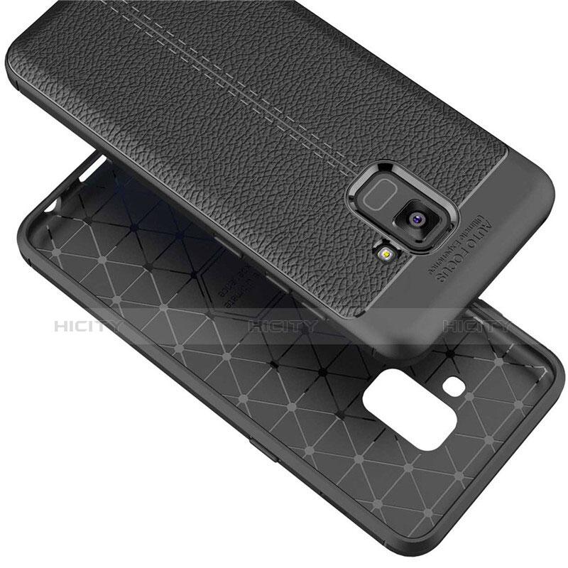 Samsung Galaxy A5 (2018) A530F用シリコンケース ソフトタッチラバー レザー柄 W01 サムスン ブラック