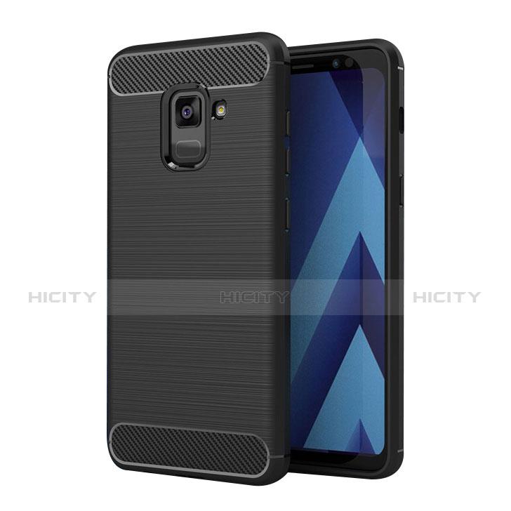 Samsung Galaxy A5 (2018) A530F用シリコンケース ソフトタッチラバー ツイル サムスン ブラック