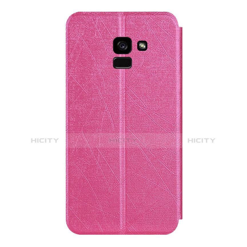 Samsung Galaxy A5 (2018) A530F用手帳型 レザーケース スタンド サムスン ローズレッド