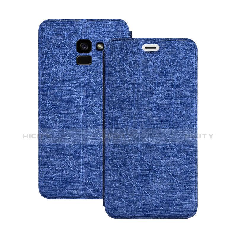 Samsung Galaxy A5 (2018) A530F用手帳型 レザーケース スタンド サムスン ネイビー