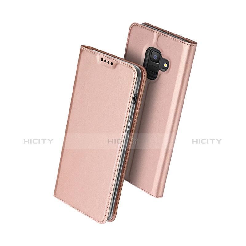 Samsung Galaxy A6 (2018)用手帳型 レザーケース スタンド サムスン ローズゴールド