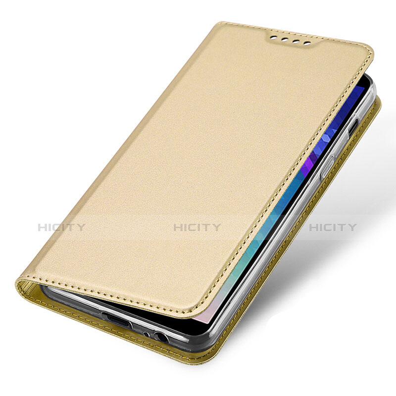 Samsung Galaxy A6 (2018)用手帳型 レザーケース スタンド サムスン ゴールド