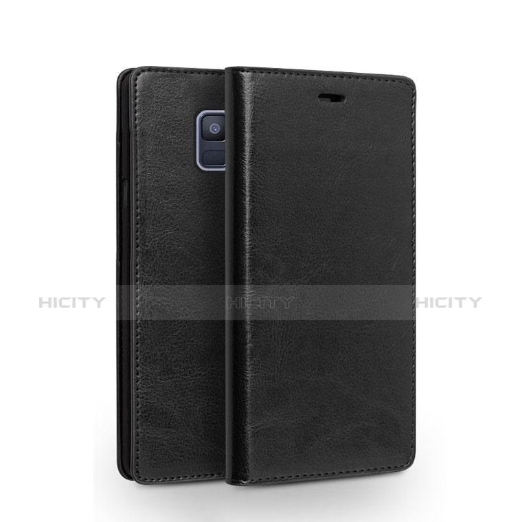 Samsung Galaxy A6 (2018)用手帳型 レザーケース スタンド L01 サムスン ブラック