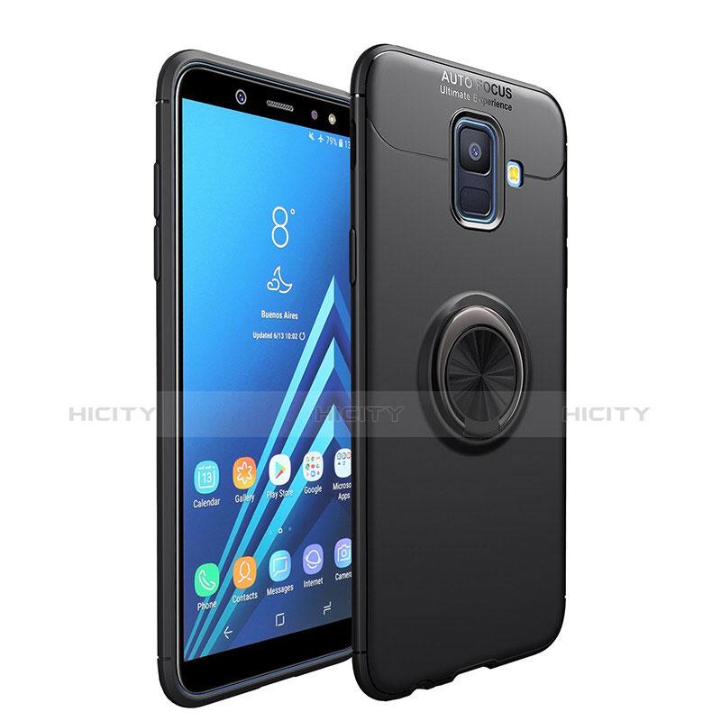 Samsung Galaxy A6 (2018)用極薄ソフトケース シリコンケース 耐衝撃 全面保護 アンド指輪 マグネット式 サムスン ブラック