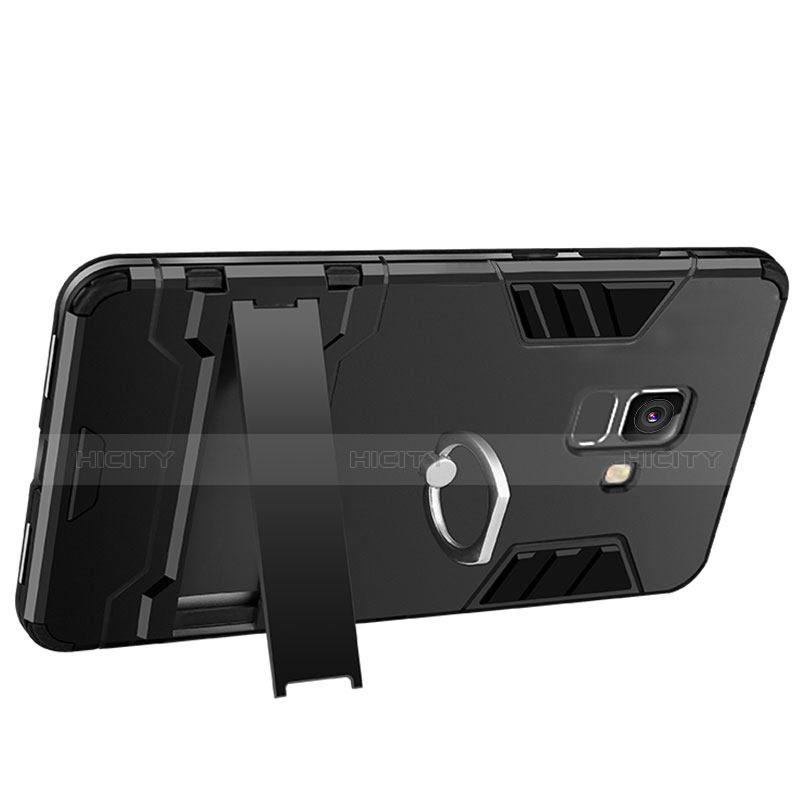 Samsung Galaxy A6 (2018)用ハイブリットバンパーケース スタンド プラスチック 兼シリコーン W01 サムスン ブラック