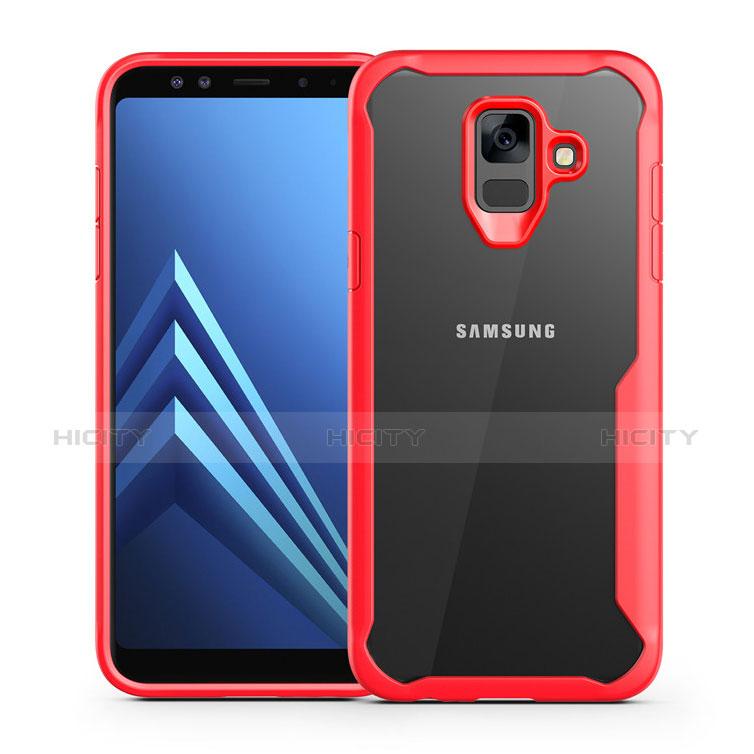Samsung Galaxy A6 (2018) Dual SIM用ハイブリットバンパーケース クリア透明 プラスチック 鏡面 カバー サムスン レッド