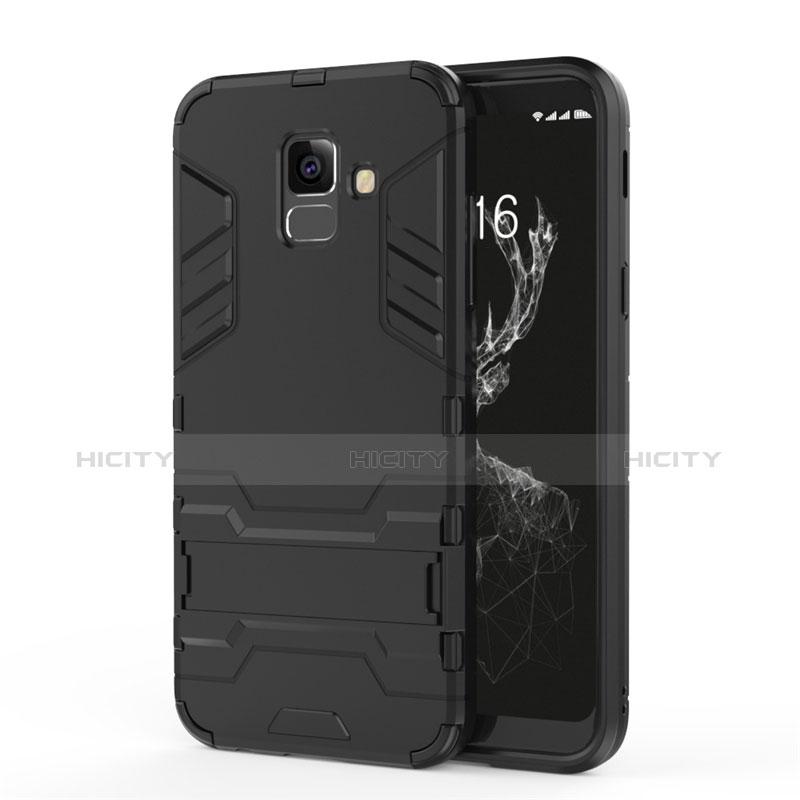 Samsung Galaxy A6 (2018) Dual SIM用ハイブリットバンパーケース スタンド プラスチック 兼シリコーン サムスン ブラック