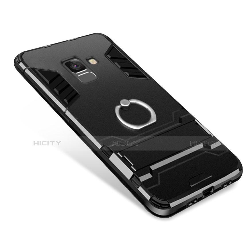 Samsung Galaxy A6 (2018) Dual SIM用ハイブリットバンパーケース スタンド プラスチック 兼シリコーン W01 サムスン ブラック