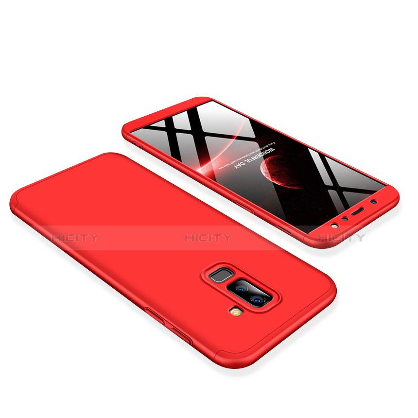 Samsung Galaxy A6 Plus用ハードケース プラスチック 質感もマット 前面と背面 360度 フルカバー サムスン レッド